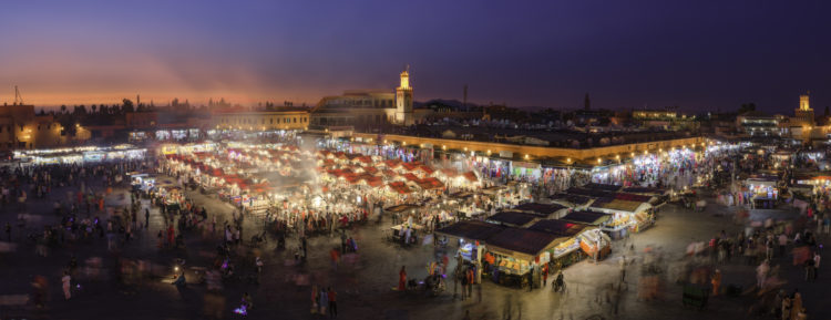 Sunset over Jemaa el Fnaa market, Marrakesh, Morocco