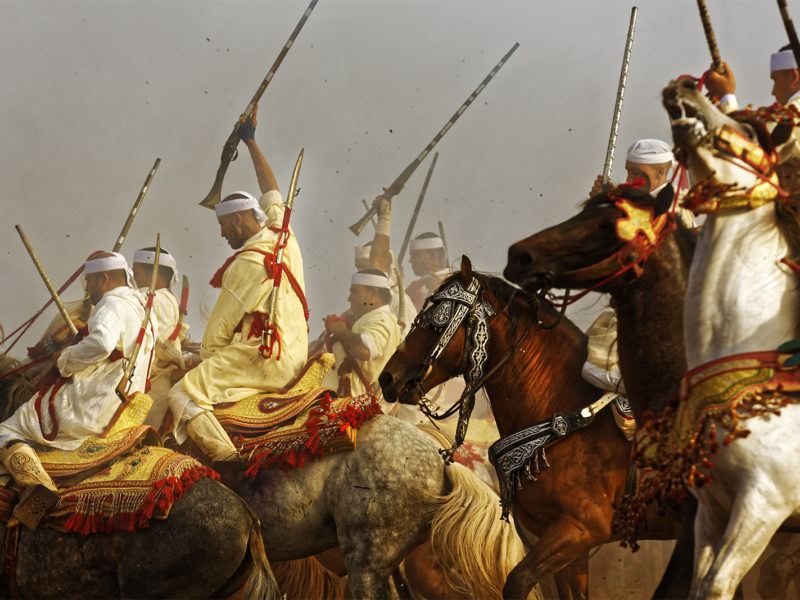 Horse men in a Moroccan festival